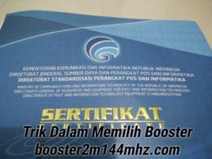 Sertifikasi Produk Booster 144Mhz 2 Meter Band Tabung